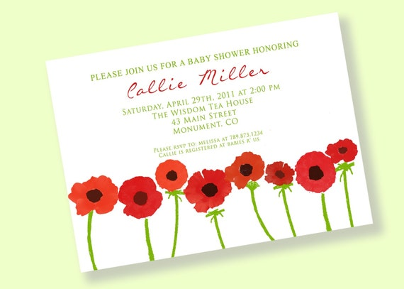 picture about Poppies Printable referred to as Crimson POPPIES Printable Social gathering Invitation Printing Obtainable by way of