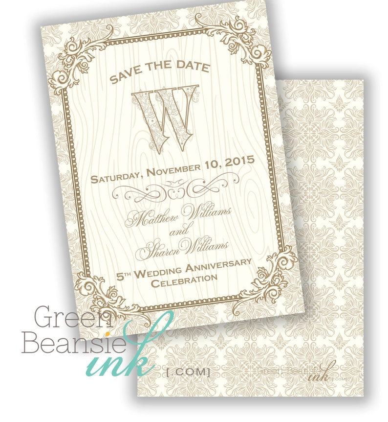 WEDDING ANNIVERSARY Gold and Cream Printable Party Invitation image 0