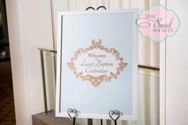 ORNATE BOY BAPTISM Printable 23x33 Welcome Sign  Blue and image 0