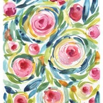 Wall Decor/Watercolor floral/Watercolor wall art/Floral wall decor/ Gifts for her/ watercolor flowers/ pink flowers