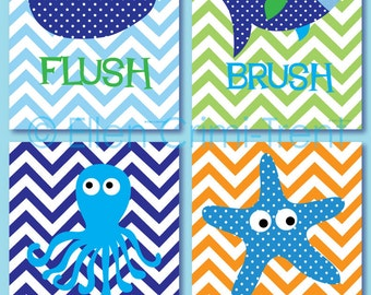 Kids Bathroom Art Etsy