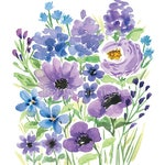 Purple Watercolor flowers/ Watercolor wall art/ purple anemone/ watercolor decor/ gifts for her/ floral wall art