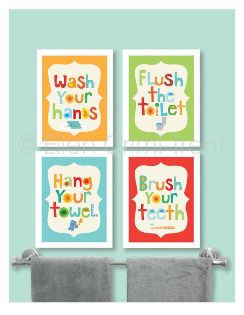 incredible Kids Bathroom Wall Art Part - 3: Kids Bathroom Decor Kids bathroom Wall art-bathroom manners- | Etsy