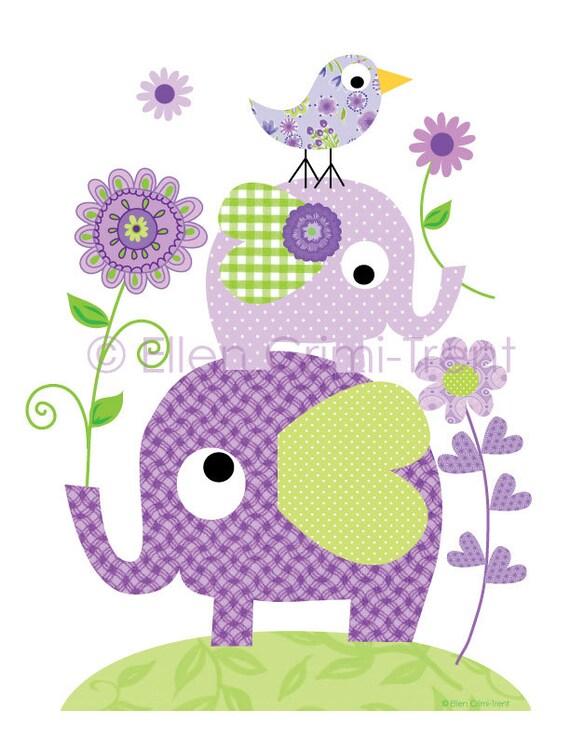 kinder wand kunst lila elefanten und blumen etsy. Black Bedroom Furniture Sets. Home Design Ideas