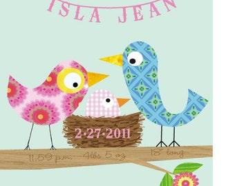 Kids Wall Art-Personalized - Baby Girl Bird -Nursery Decor