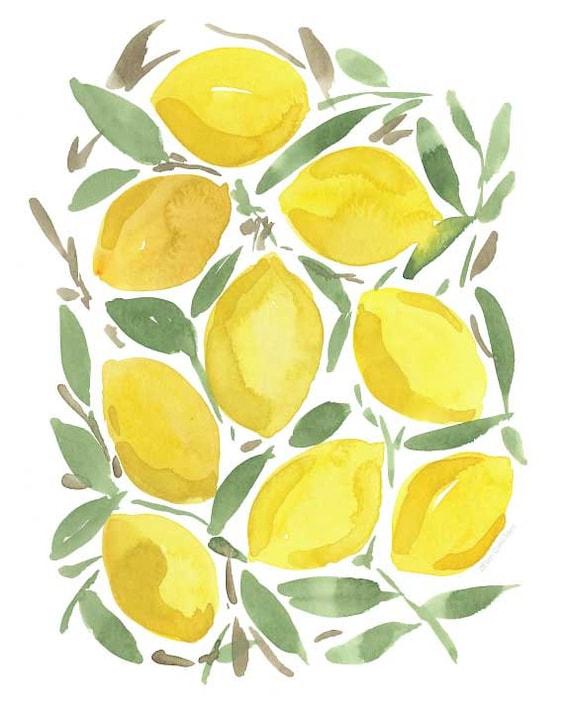 Watercolor Lemon wall art/ watercolor botanical/ lemon wall | Etsy