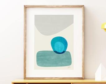 Mid-century modern art, vintage style print, abstract artwork - Stacking Pebbles wall art print