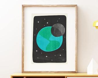 Space wall art print, mid-century modern art, abstract artwork - Earth II Art Print