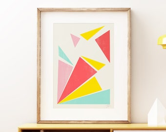 Fractured Rays Mid-century modern art, vintage style print, shattered abstract artwork colorful wall art print