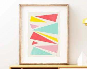 Mid-century modern art, vintage style print, abstract artwork - Fractured Waves colorful wall art print