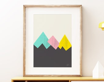 Mid-century modern art, vintage screen print style, abstract artwork - Pastel Mountains III Tricolor wall art print
