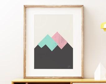 Mid-century modern art, vintage screen print style, abstract artwork - Pastel Mountains I Pink Blue wall art print
