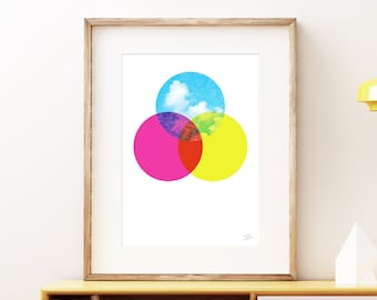 CMYKloud colorful clouds wall art print - Modern abstract geometric process color art print, simple retro circles with a blue sky and clouds