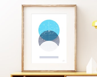 Eclipse IV wall art print - Modern celestial geometric space art print, vintage style planet collage, mixed media abstract artwork