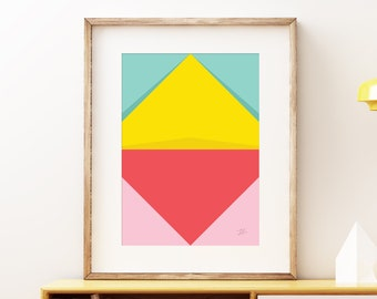 Abstract Pastel Perspective II wall artwork - Bold colorful modern art, statement print, simple abstract art print for the home or office