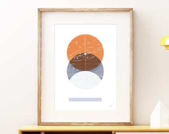 Eclipse III wall art print - Modern celestial geometric space art print, vintage style planet collage, mixed media abstract artwork