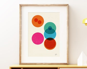 Division II wall art print - Modern abstract geometric cells science art print, colorful retro laboratory style artwork