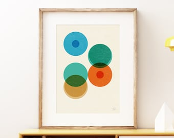 Division I wall art print - Modern abstract geometric cells science art print, colorful retro laboratory style artwork