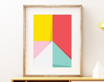 Abstract Pastel Perspective III wall artwork - Bold colorful modern art, statement print, simple abstract art print for the home or office