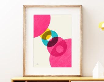 Pink Solar wall art print - Vibrant Mid-century modern art, colorful vintage style print, abstract artwork