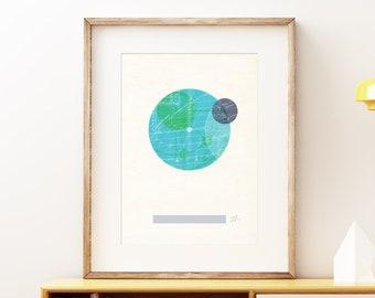 Planet Earth I retro wall art print - Space wall art, solar system print, abstract artwork, science decor