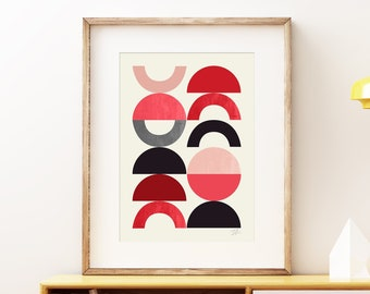 Playground I Mid-century modern art, red black and grey vintage style wall art print, abstract circles artwork