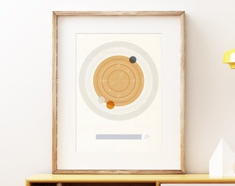 Planet Saturn I retro wall art print - Space wall art, solar system print, abstract artwork, science decor