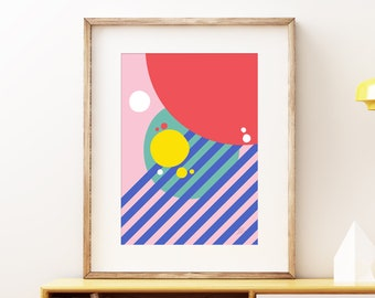 Rainy Summer Daze wall art print - Colorful contemporary modern abstract artwork, retro style print