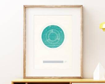 Planet Uranus I retro wall art print - Space wall art, solar system print, abstract artwork, science decor