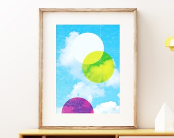 CMYKK colorful clouds wall art print - Modern abstract geometric process color art print, simple retro circles with a blue sky and clouds