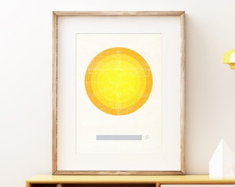 Sun I retro wall art print - Space wall art, solar system print, abstract artwork, science decor