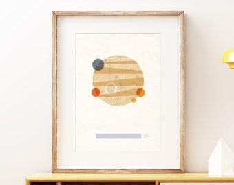Planet Jupiter I retro wall art print - Space wall art, solar system print, abstract artwork, science decor