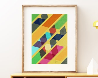 Ribbons wall art print - Mid-century modern art, vintage style print, simple abstract artwork for the home or office