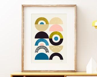Playground III Mid-century Modern wall art print - vintage 1950s 1960s style print, bold playful geometric abstract retro artwork