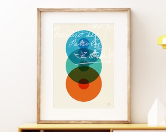 Generations wall art print - Modern abstract geometric cells science art print, colorful retro overlapping circles artwork