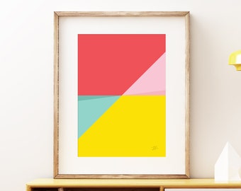 Abstract Pastel Perspective I wall artwork - Bold colorful modern art, statement print, simple abstract art print for the home or office