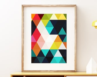 Diamonds - abstract wall art print. Colorful geometric modern art, vintage style print, geometric pattern artwork for the office or home