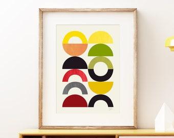 Playground II - Mid-century modern art, vintage style wall art print, abstract artwork