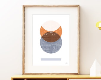 Eclipse I wall art print - Modern celestial geometric space art print, vintage style planet collage, mixed media abstract artwork