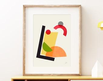 Cocktail II Tom Collins wall art print - Mid-century modern art, vintage style print, abstract artwork
