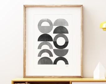 Mid-century modern art, vintage screen print style, abstract artwork - Playground II Mono wall art print