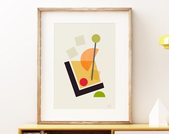 Mid-century modern art, vintage style print, abstract artwork - Cocktail III Old Fashioned wall art print