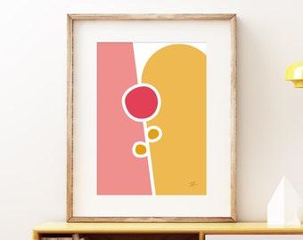 Flowers I wall art print - Mid-century modern art nouveau, vintage style print, abstract artwork
