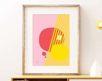 Peekaboo pink abstract wall artwork - Bold colorful modern art, statement print, simple playful geometric art print for the home or office