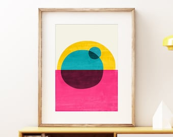 Vibrant Eclipse wall art print - Brightly colored Mid-century modern art, vintage style print, abstract artwork