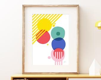 Cellular Evolved I contemporary abstract wall artwork - Bold modern graffiti pop art, statement print, colorful geometric fun art print