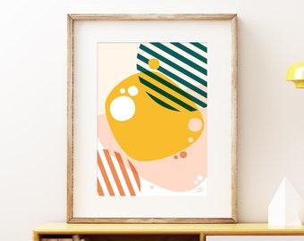 River Pebbles wall art print - Mid-century modern art, vintage style print, abstract artwork