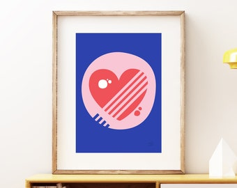 Love Pop Heart wall artwork - Bold colorful modern art, statement print, simple abstract geometric fun art print for the home or office