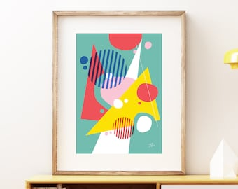Abstract Pop II wall artwork - Bold colorful modern art, statement print, simple abstract geometric fun art print for the home or office