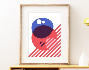 Interplanetary abstract wall artwork - Bold colorful modern art, statement print, simple geometric fun art print for the home or office